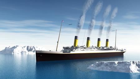 タイタニック号の船の 3 D レンダリング 写真素材