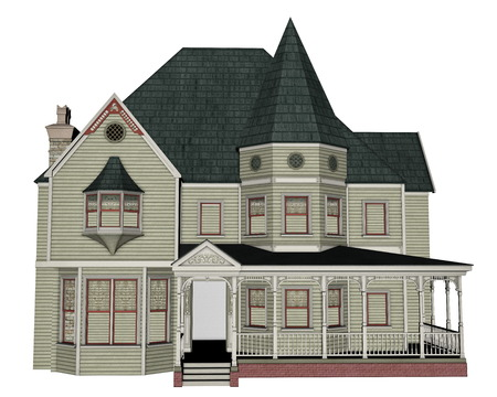 homes exterior: Victorian house - 3D render