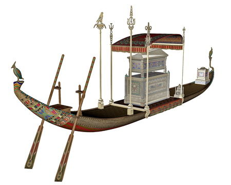 nile river: Egyptian sacred barge with tonb - 3D render Stock Photo