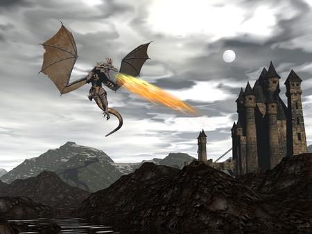 castillos: Drag�n paisaje - 3D render Foto de archivo