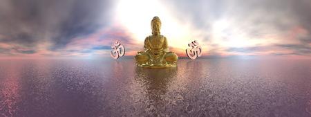 3d aum: Buddha and aum symbol - 3D render Stock Photo