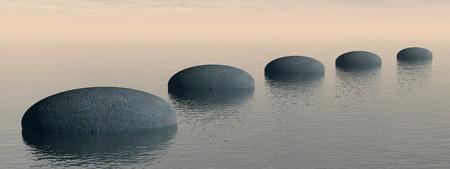 바다에 단계 - 3D 렌더링