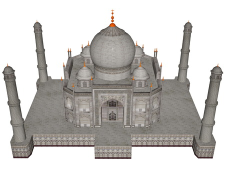 mausoleum: Taj Mahal mausoleum - 3D render Stock Photo