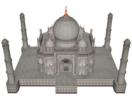 mahal: Taj Mahal mausoleum - 3D render Stock Photo