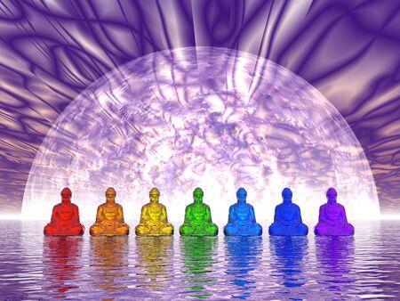 bouddha: Chakra Bouddhas - rendu 3D