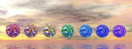 reiki: Chakra spheres - 3D render