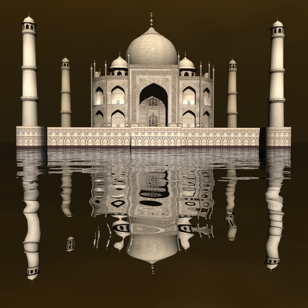 mausoleum: Taj Mahal mausoleum, Agra, India - 3D render Stock Photo