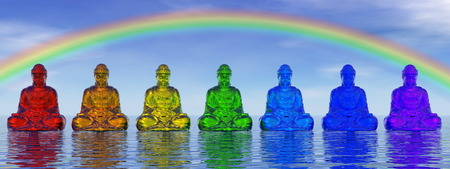 chakra: Chakra buddhas - 3D render