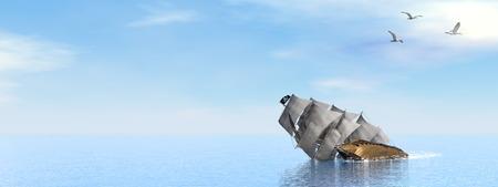 vessel sink: Pirate Ship sinking - 3D render