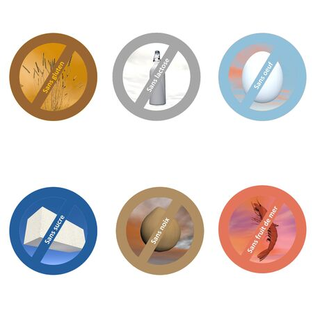 celiac: French stickers for allergen free products Stock Photo