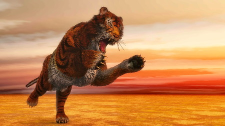 Tiger jumping - 3D render photo