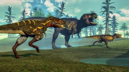 tyrannosaurus: Nanotyrannus hunting small tyrannosaurus - 3D render Stock Photo