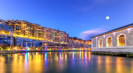 rhone: BFM, buildings and Rhone river, Geneva, Switzerland, HDR