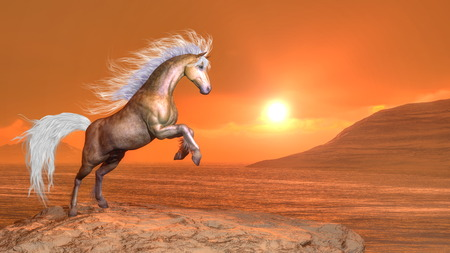 rearing: Horse rearing by sunset - 3D render Stock Photo