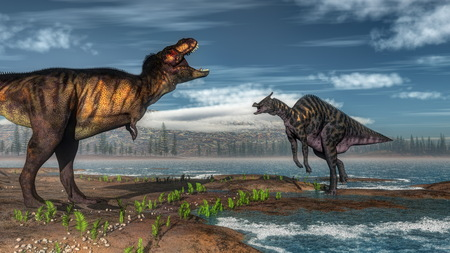 tyrannosaurus: Tyrannosaurus rex and saurolophus dinosaurs - 3D render Stock Photo