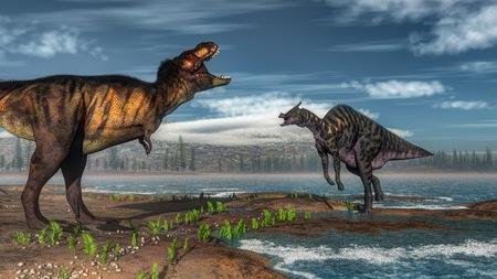 Tyrannosaurus rex and saurolophus dinosaurs - 3D render Stock Photo