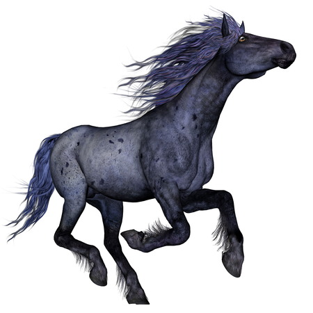 black and blue: Black blue horse running - 3D render Stock Photo