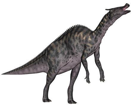 extinction: Saurolophus dinosaur - 3D render Stock Photo