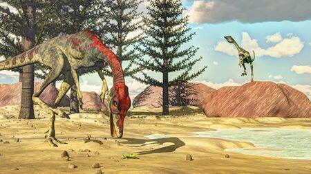 Compsognathus dinosaurs - 3D render Banque d'images