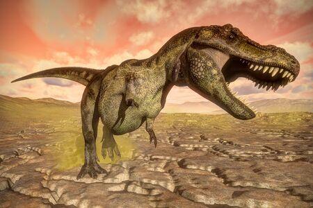 tyrannosaurus: Tyrannosaurus rex dinosaur roaring - 3D render