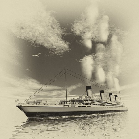 historical ship: Famous Titanic ship floating among icebergs on the water by cloudy day, vintage style - 3D render Stock Photo