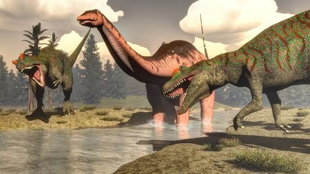 allosaurus: Two allosaurus hunting big brontosaurus, apatosaurus, dinosaur standing in the water next to tempsky trees and epicea forest - 3D render