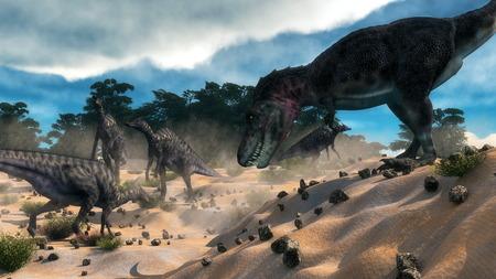 surprising: Tarbosaurus surprising saurolophus dinosaurs herd next to liban cedar forest by day - 3D render