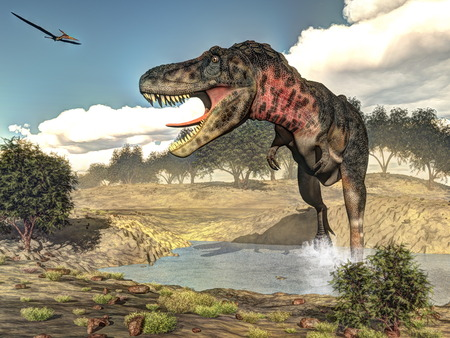 Tarbosaurus walking while roaring next to tamaris plants by day - 3D render Banque d'images