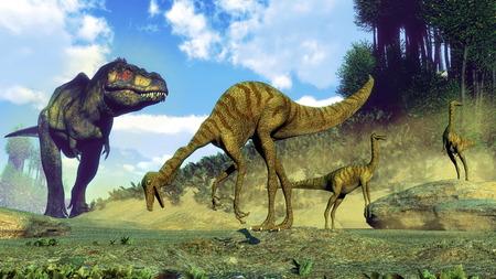 日中はティラノサウルス ・ レックス意外のガリミムス恐竜の群れ 3 D レンダリングします。