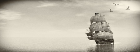 Beautiful detailed Pirate Ship, floating on the ocean surrounded with seagulls by day, vintage style image  - 3D render