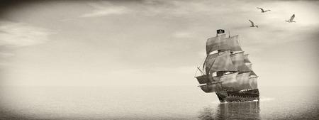 Mooie gedetailleerde Piratenschip, drijvend op de oceaan, omgeven met meeuwen op de dag, het vintage stijl - 3D render