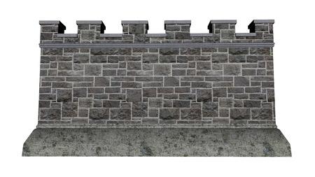 castello medievale: Castello di parete isolati in sfondo bianco - 3D render Archivio Fotografico