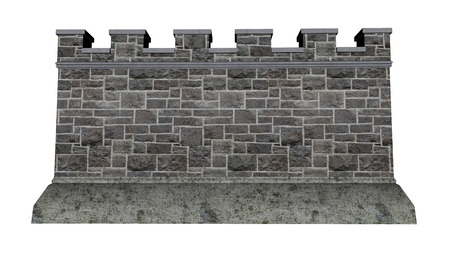 ancient brick wall: Castle wall isolated in white background - 3D render Stock Photo