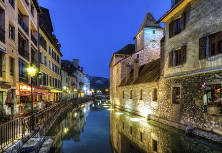 palais: Palais de lIle jail and canal in Annecy old city by night, France, HDR