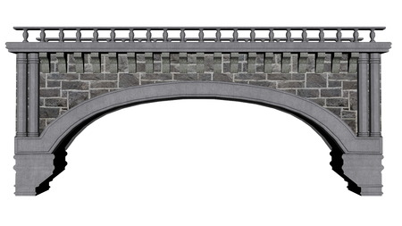 balustrade: Ancient bridge isolated in white background - 3D render