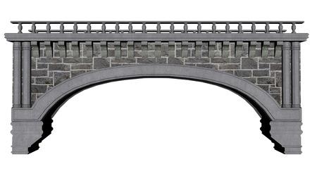 Puente antiguo aislado en el fondo blanco - 3D render