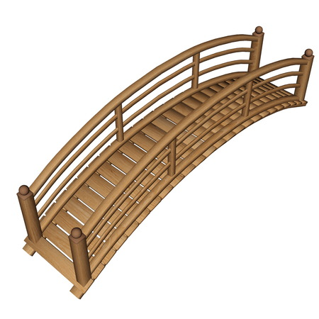 balustrade: Garden bridge made of wood isolated in white background - 3D render
