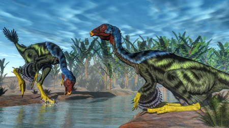 Two caudipterix dinosaurs at a river next to pachypteris and onychiopsis plants - 3D render