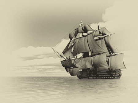 cloudy day: Beautiful detailed old ship HSM Victory floating on the ocean by cloudy day, vintage style image - 3D render