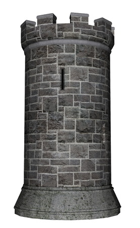 turret: Castle tower isolated in white background - 3D render
