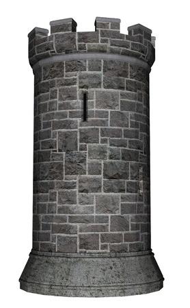 castillo medieval: Torre del castillo aislado en el fondo blanco - 3D render Foto de archivo