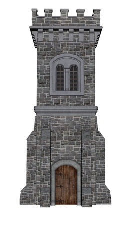 brick and mortar: Square castle tower isolated in white background - 3D render