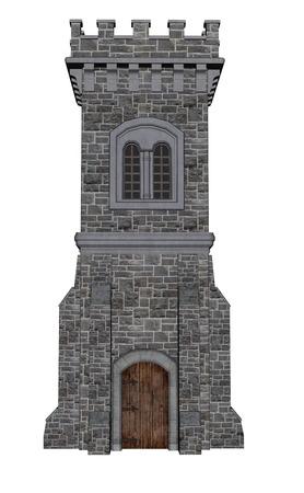 Vierkante kasteeltoren geïsoleerd in witte achtergrond - 3D render Stockfoto
