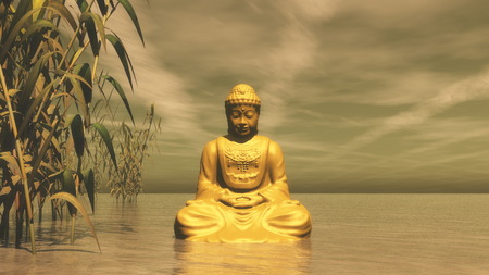 Golden buddha meditating next to bamboos by sunset light - 3D render