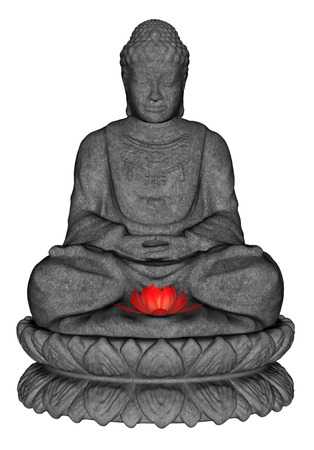 buddha lotus: Stone buddha meditating and small lotus flower isolated in white background - 3D render