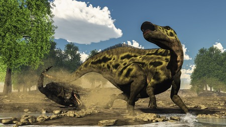 defending: Shantungosaurus defending from tarbosaurus dinosaur attack thanks to its queue next to gingko trees by day - 3D render Stock Photo