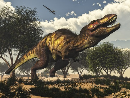 rex: Tyrannosaurus rex standing upon its eggs to protect them by day, next to tamaris trees and onychiopsis plants - 3D render Stock Photo