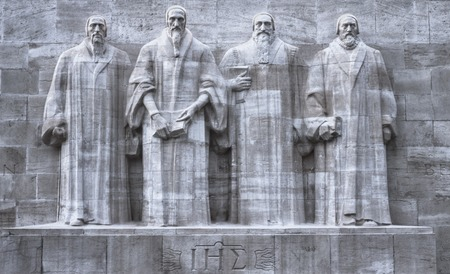 reformation: Close up on reformers wall in Geneva, Switzerland, HDR