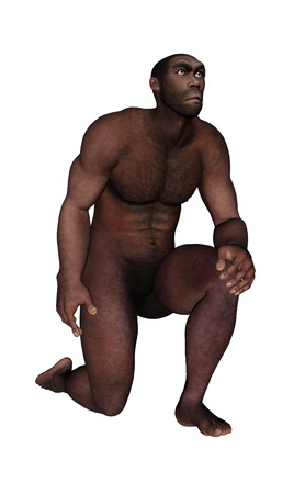 erectus: Hombre homo erectus pidiendo aislado en el fondo blanco - 3d hacer