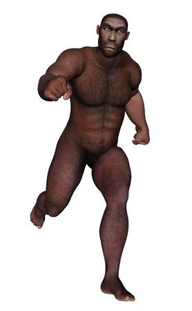 erectus: Hombre homo erectus funcionamiento aislado en el fondo blanco - 3D render